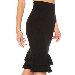 LPA Cotton/Cashmere Midi Skirt with ruffles C15